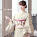 Washable kimono プレタ 着物小紋袷 brand bonheur saisons (ボヌールセゾン) lattice beige medium size large size