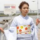 プレタ kimono Lady's wound beauty garden original blue hickory stripe French linen hemp unlined clothes summer clothes thing fine pattern yukata S M, large size