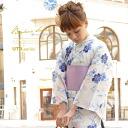 Rain off and on bonheur saisons (ボヌールセゾン) Jouer ete couleur summer for three points of yukata set (yukata / half-breadth sash / clogs) Lady's yukata women; poetry uta white pink cotton lam