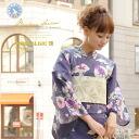 Yukata 3 pieces (yukata and Obi / clogs) ladies yukata Dancewear bonheur saisons ( bonursezon ) Nostalgic Gallery 'pocket' Navy Blue morning glory florets cotton hemp Fireworks Convention yukata