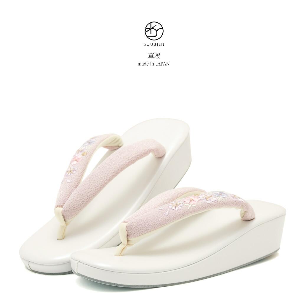 パールホワイト×ピンク 草履