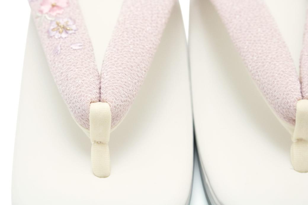 草履 パールホワイト×ピンク 日本製 桜刺繍 Mサイズ Lサイズ フォーマル カジュアル