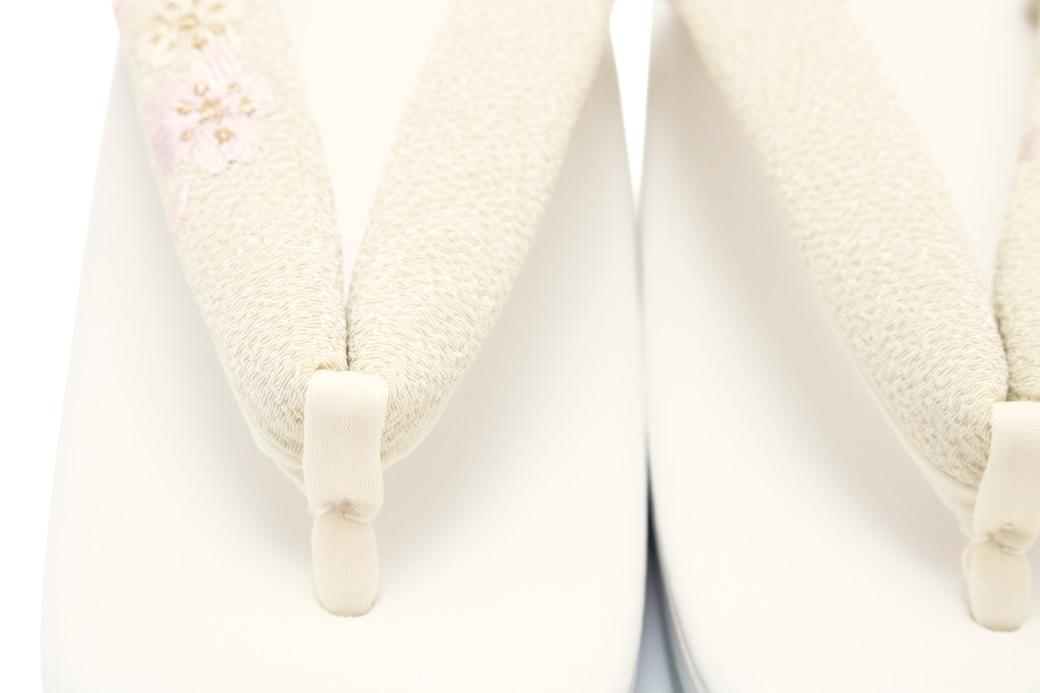 草履 パールホワイト×クリーム 日本製 桜刺繍 Mサイズ Lサイズ フォーマル カジュアル
