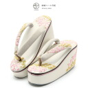Sandals long-sleeved kimono coming-of-age ceremony gala dress white tinged cherrytree leaves embroidery heel sandals high heel thickness bottom synthetic leather four circle