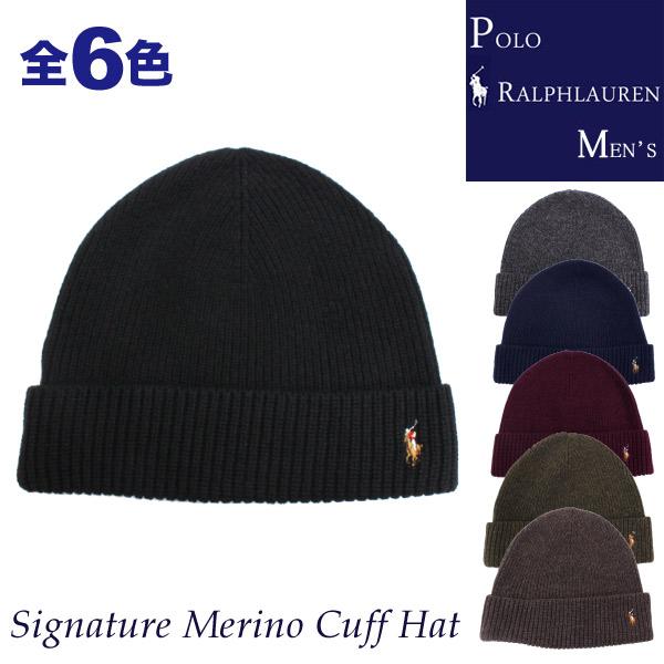 �ݥ� ���ե?��� ��� POLO Ralph Lauren MENS ����ե� �ݥˡ��ɽ� ���Υ����� �˥åȥ���å� ����å� �˥å�˹ Signature Merino Cuff Hat ��� ��ǥ����� ��˥��å��� (6F0101)