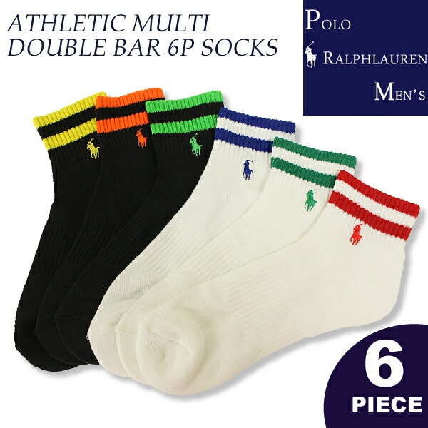 �ݥ���ե?��� ��� POLO Ralph Lauren Men's �ݥˡ��ɽ� ���󥯥륽�å��� ATHLETIC MULTI DOUBLE BAR 6P SOCKS ����֤� ��� ���� ̵�� �֥��� ������ (824103PK)