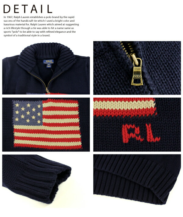 �ݥ� ���ե?��� �ܡ����� Polo Ralph Lauren BOYS USA��� �ϡ��ե��å� �ץ륪���С� �˥å� FLAG COTTON HALF ZIP SWEATER �������� ��� (323560726)