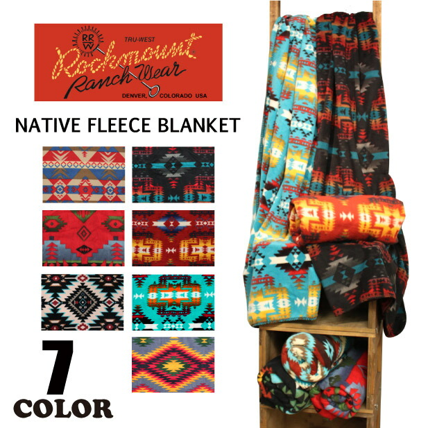 Rockmount ��å��ޥ���� NATIVE FLEECE BLANKET �ͥ��ƥ����� �ե꡼���Ǻ� ��Ƚ �֥�󥱥å� ��� ��ǥ����� ��˥��å���