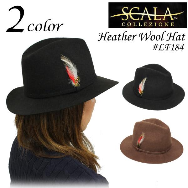 スカラ SCALA フェザー ウール つば広ハット フェルトハット フェドラハット シンプル サイズ調整可能 中折れハット ブラック レディース (LF184)