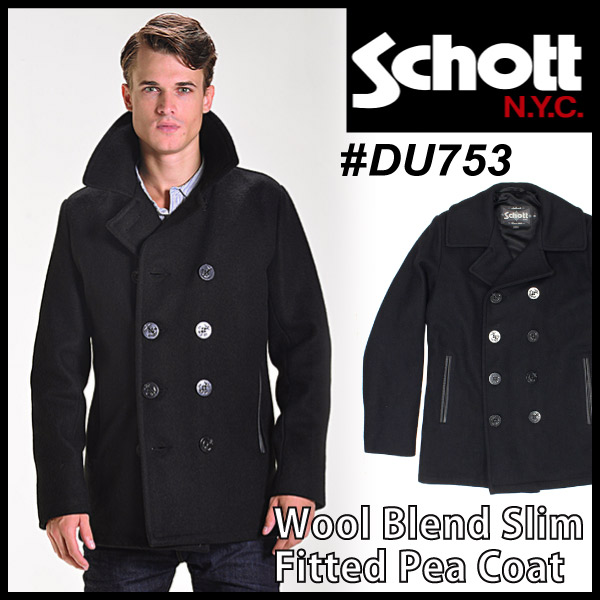 ����å� SCHOTT ���ȥ� ������ P������ Wool Blend Slim Fitted Pea Coat �ԡ������� ���㥱�å� �������� ���硼�� �Х����� USA��ǥ� �֥�å� ���  (DU753)