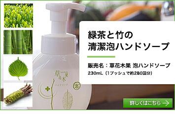 緑茶と竹の清潔泡ハンドソープ