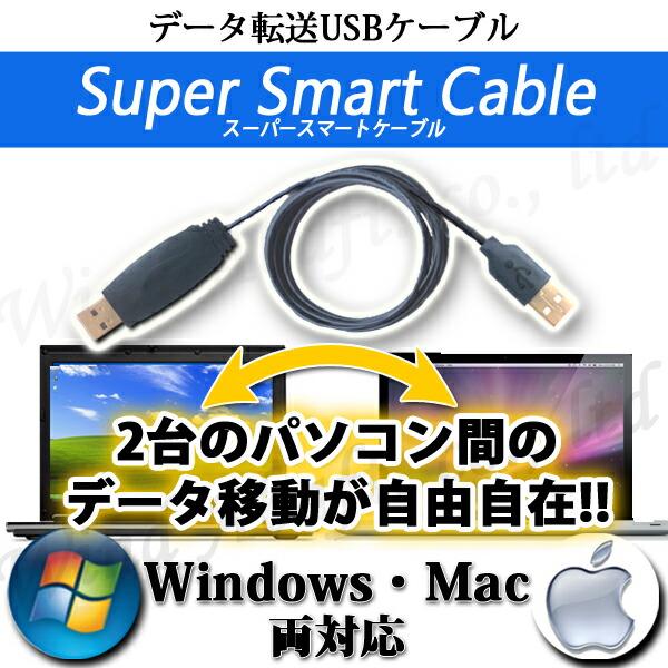 USB2.0リンクケーブル・2台のパソコンをこのUSBケーブルで繋ぐだけでドラッグ&ドロップ、コピー&ペーストが自由自在・WindowsとMac間でも使える・格安特価