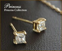 "K18 Gold Princess diamond stud earrings ""PRINCESS' stud earring princess cut grain diamond pierce 18 18 k gold gold pierce for women women's jewelry store"