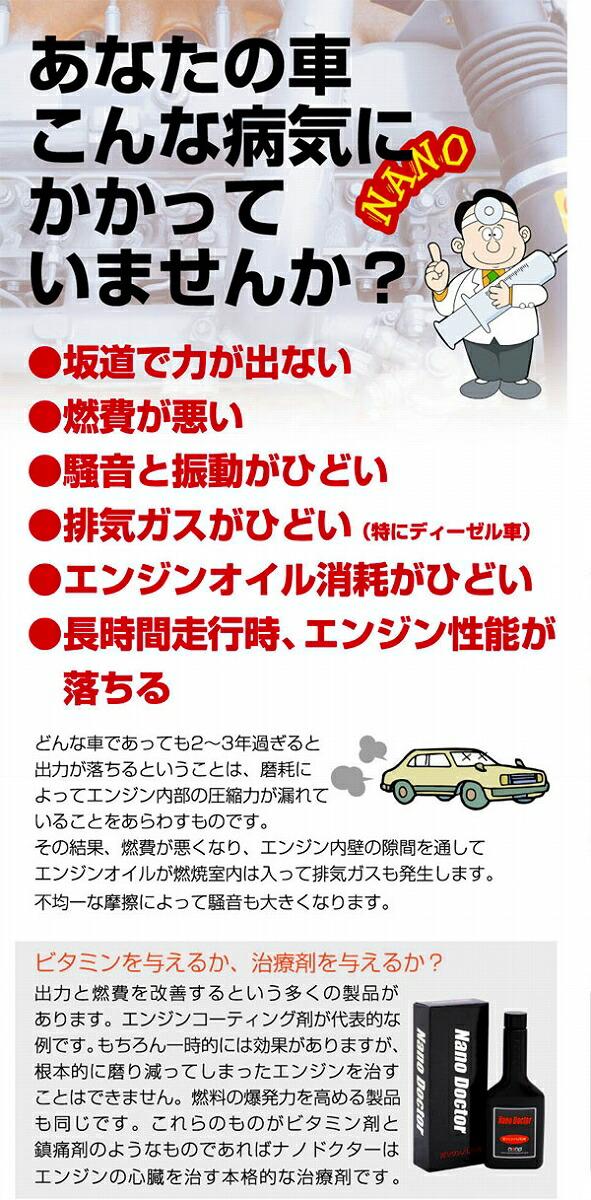 ナノドクター エンジンオイル添加剤 (ガソリン/LPG一般乗用車用)銅合金ナノ粒子配合 燃費向上 排気ガス減少【お気に入り】