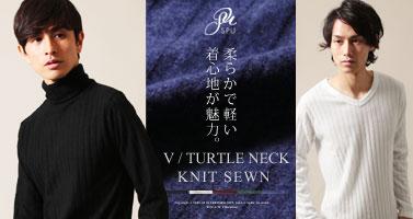 Buyer's Select/ワイド テレコ タートルネック/Vネック 長袖 ニットソー