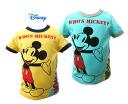 Disney Baby 미키 인쇄 전환 색 리브 반 소매 T 셔츠