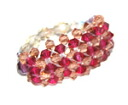 Beading accessories-Swarovski luxury three-ring (Ruby & light smoke Topaz)