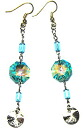 Bead accessories Swarovski chandelier earrings (antique green AB-long)