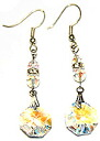 Bead accessories Swarovski chandelier earrings ( crystal blue AB & ジルコニアロンデル )