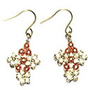 Bead accessories Silver Flower Earrings (pink bronze Pearl)