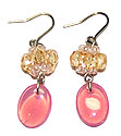 Beads accessories pink opal and pierced earrings of Champagne