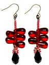 Beads accessories Dorothy pierced earrings (Siam ruby & jet, black)