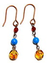 Pierced earrings of beads accessories, small natural stone turquoise and topaz Czech beads