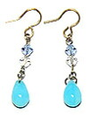 Bead accessories and small blue drop earrings