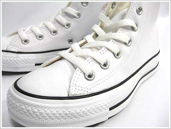 ����С��� �쥶�������륹���� �ϥ����å� �� �ۥ磻�� �ܳץ��塼�� CONVERSE LEATHER ALL STAR HI