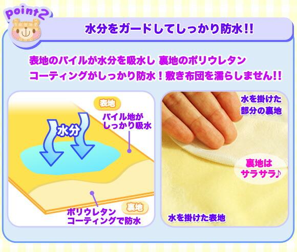 水分ガード ポリウレタンコーティング 敷き布団を濡らさない敷きパッド イメージ写真