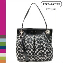 Coach COACH shoulder bag 2-way black x white Ashley signature satin hippie ladies