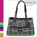 Coach COACH Tote Bag Black x white Penelope signature satin carryall ladies