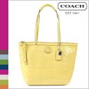 Yellow stitch patent women's coach COACH tote bag