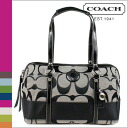 Coach COACH Tote Bag Black x white stripe satchel ladies