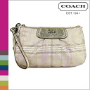 Coach COACH pouch multi-color striped Tartan large wristlet