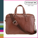 Coach COACH men's business bag 2-Way Cognac pebbled leather trans Atlantic small commuter