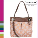 Coach COACH shoulder bag 2-way raspberry Ashley op art linen hippie ladies