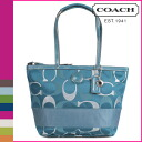 Coach COACH tote bag teal multi color SIS 3COLOR signature metallic Tote Women's