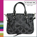 Coach COACH tote bag 2-Way black gray × black having dotted op art mini ladies