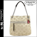 Coach COACH poppy POPPY tote bag khaki / bronze metallic signature satin slim ladies