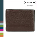 Coach COACH men's two folding mahogany 2 キャムデンペブルドレザーパスケース ID wallet