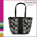Point coaches 10 times [F21950] COACH tote bags black white striped women's [regular outlets, 10P30May15
