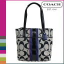 Point 10 times coach COACH tote bag [F24666] black white multi signature multi stripe ladies [regular outlets, 10P30May15
