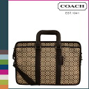Coach COACH men's tote bag 2-Way khaki / Brown signature Embassy Briefcase