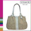 Coach COACH Womens Tote Bag F28503 light khaki x ivory signature stripe 12 CM Devin [regular outlet]
