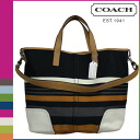Coach COACH Lady's 2WAY tote bag F30302 black multi-Hadley multi-stripe duffel [6/30 Shinnyu load] [regular outlet]★★