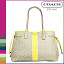 Coach COACH Lady's tote bag F30521 light khaki X yellow signature stripe draw string large carry oar [7/14 Shinnyu load] [regular outlet]★★
