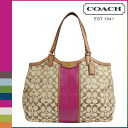 Point 2 x coach COACH Womens Tote Bag F31444 khaki x cherry Python signature stripe Tote [10 / 28 new in stock] regular outlet 02P30Nov14