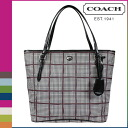 Coach COACH Womens Tote Bag F33320 Bordeaux × multi Peyton Glen Plaid check zip-top Tote [12 / 18 new in stock] regular outlet ★ ★