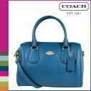 Coach COACH women's 2-WAY shoulder bag F33329 teal Blue Cross-grain leather Bennett Mini Satchel [2 / 2 new in stock] regular outlet ☆ ☆ ★ ★